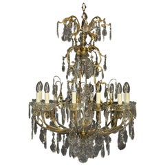 French 19th Century Gilded Bronze and Crystal 11-Light Cage Antique Chandelier