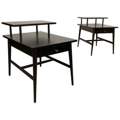 Paul McCobb Planner Group Tiered Ebonized End Tables