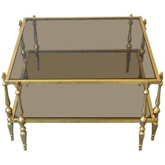 1980s French Brass and Glass Coffee Table