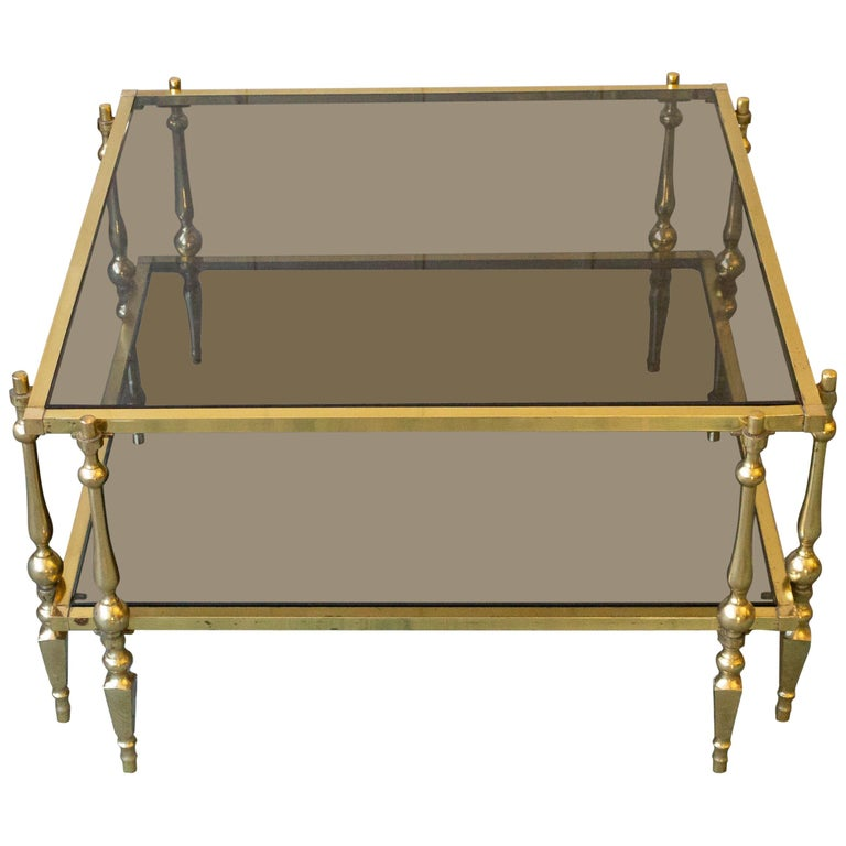 Artimeta Attributed Square Metal And Glass Coffee Table At: 1980s French Brass And Glass Coffee Table For Sale At 1stdibs
