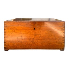 19th Century Camphor Wood Sea Captain's Trunk with Tray Insert