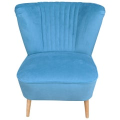 1950s Cocktail Chair Blue Fabric