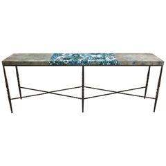 Customizable Turquoise Mystic Blossom Glass Mosaic Console by Ercole Home