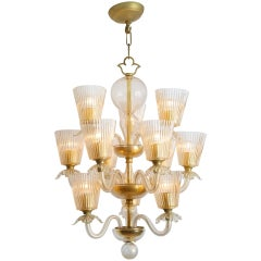 Twelve-Arm Chandelier in Blown Glass with Gold Inclusions