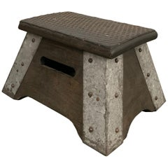 Industrial Maple and Galvanized Steel Train Step Stool