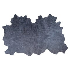 Ash Black Batik, Sunburst Dash, Large Hand Dyed Cowhide Rug by AVO
