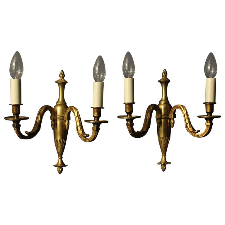 French Pair of Bronze Antique Wall Lights For Sale