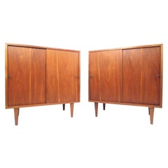 Pair of Midcentury Sliding Door Nightstands in the Style of Paul McCobb