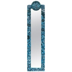 Customizable Turquoise Blossom Glass Flower Mosaic Mirror by Ercole Home