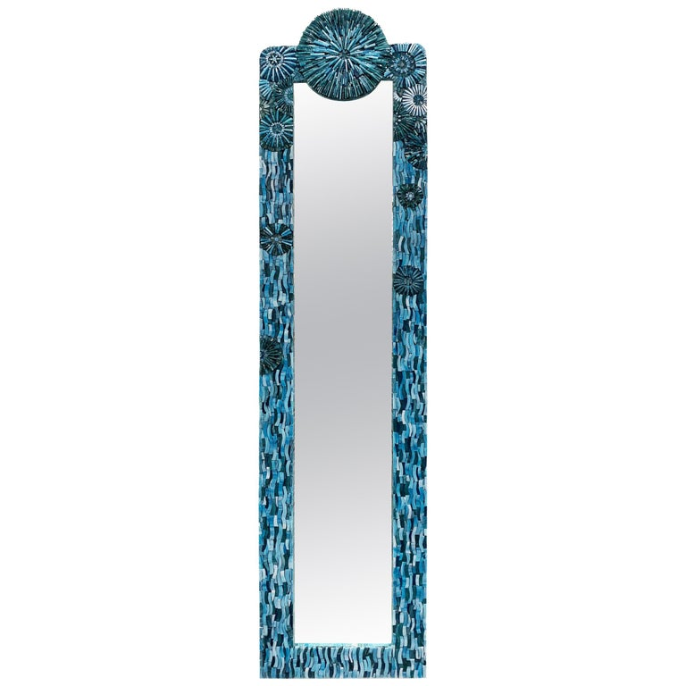 Customizable Turquoise Blossom Glass Flower Mosaic Mirror by Ercole Home For Sale