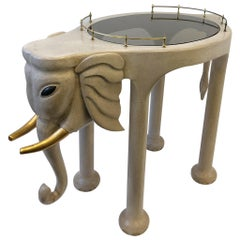 Carved Wood Elephant Bar Cart by Marge Carson