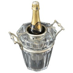 Baccarat 'Moulin Rouge' Cut Crystal and Silver Plate Wine Cooler, circa 1985