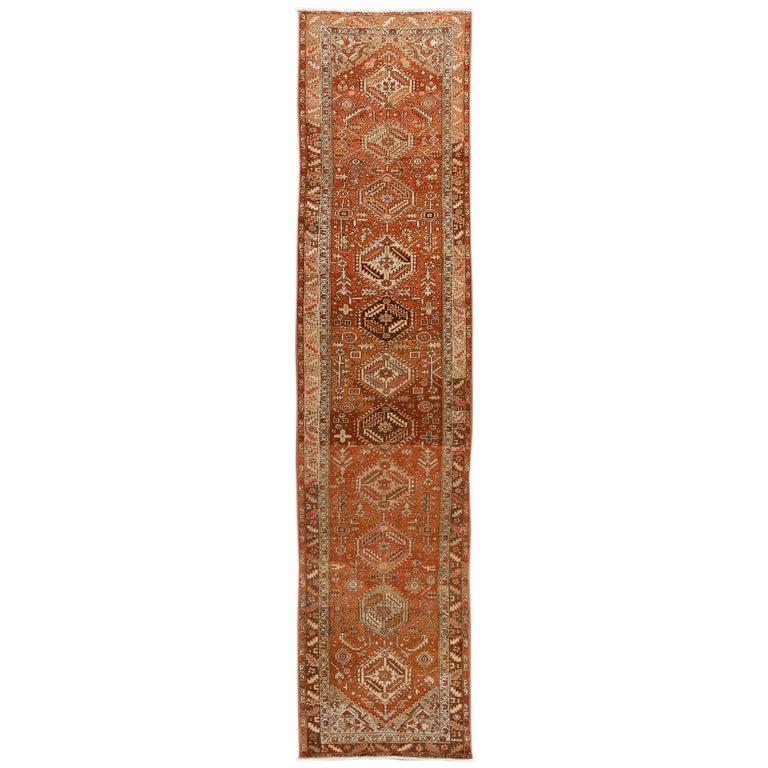 Antique Rust Colored Persian Heriz Wool Runner Rug For