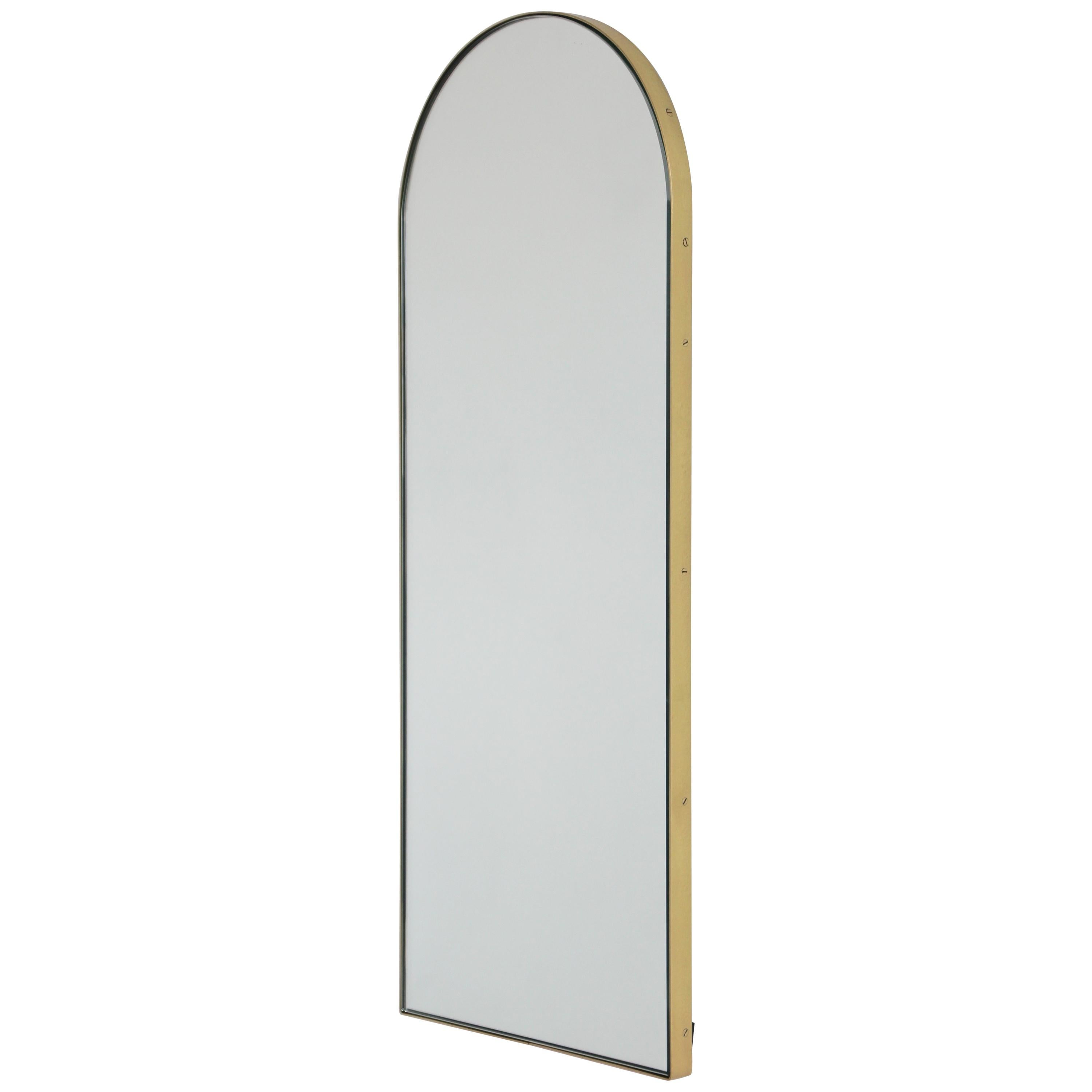 Arcus Arch Shaped Narrow Art Deco Elegant Mirror With Brass Frame For Sale At 1stdibs