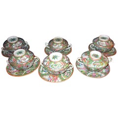 Chinese Qing Rose Medallion Porcelain Lidded Soup Rice Bowls with Saucers Set