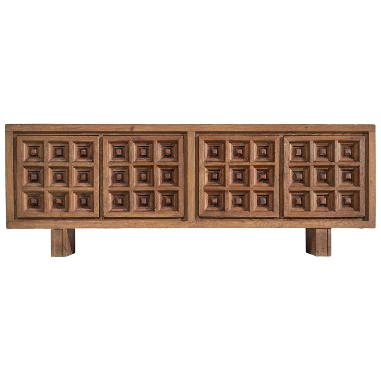 Spanish Sideboard in Stained Pine Manufactured by Biosca For Sale