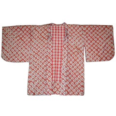 Japanese Silk Haori Jacket from the Showa Period Cinnabar Red and Grey