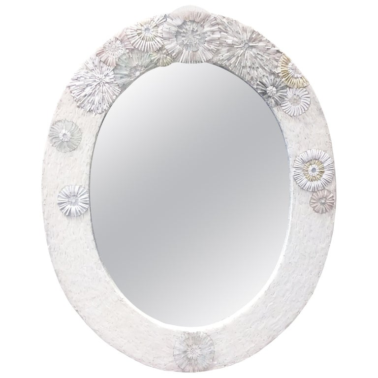 Customizable Whtie Blossom Glass Flower Mosaic Oval Mirror by Ercole Home For Sale