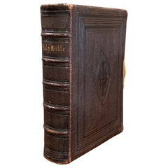 19th Century English Leather Bound Holy Bible with Gilt Tooling and Brass Lock