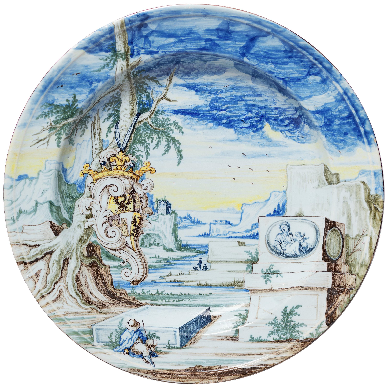 Late 17th Century Italian Maiolica Armorial Dish, 1700 circa