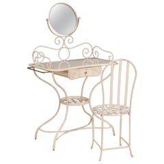 20th Century White Painted Iron Italian Dressing Table with Chair, 1960