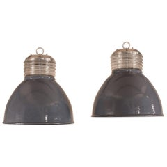 Pair of Vintage Gray Enamel and Glass Industrial Pendant Lights