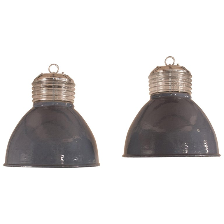 Pair of Vintage Gray Enamel and Glass Industrial Pendant Lights For Sale