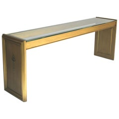 Gold Gilt Painted Wood & Glass Console, 1970s-1980s