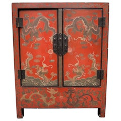 Antique Chinese Red Lacquer Side Table Cabinet with Incised Dragon Decoration