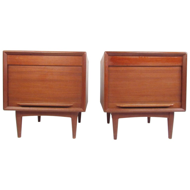 Pair of Danish Modern Tambour Nightstands by Falster For Sale
