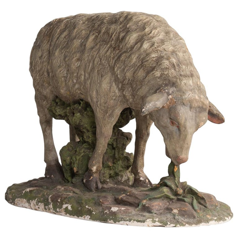 Plaster Sculpture of Sheep, circa 1950 For Sale