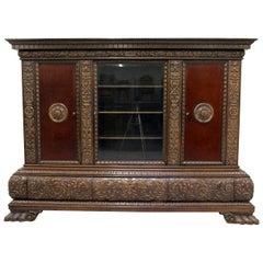 Herrenzimmer Cupboard Bookcase Antique Table Showcase Lion Paw