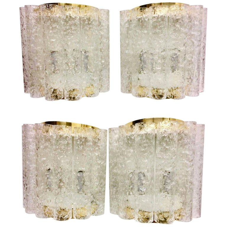 Two Pair of 1960s German Brass Six Tubes Doria Glass Sconces