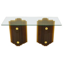 Sculptural Amber Glass Cut Console or Table Bases by Cristal Arte, 1970s, Italy
