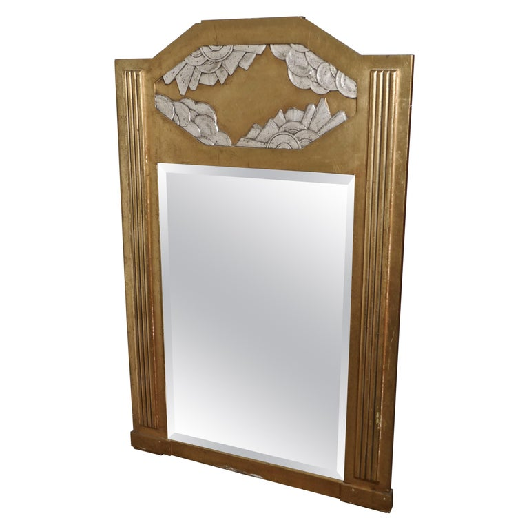 Large French Odeon Style Art Deco Gilt Wall Mirror For Sale
