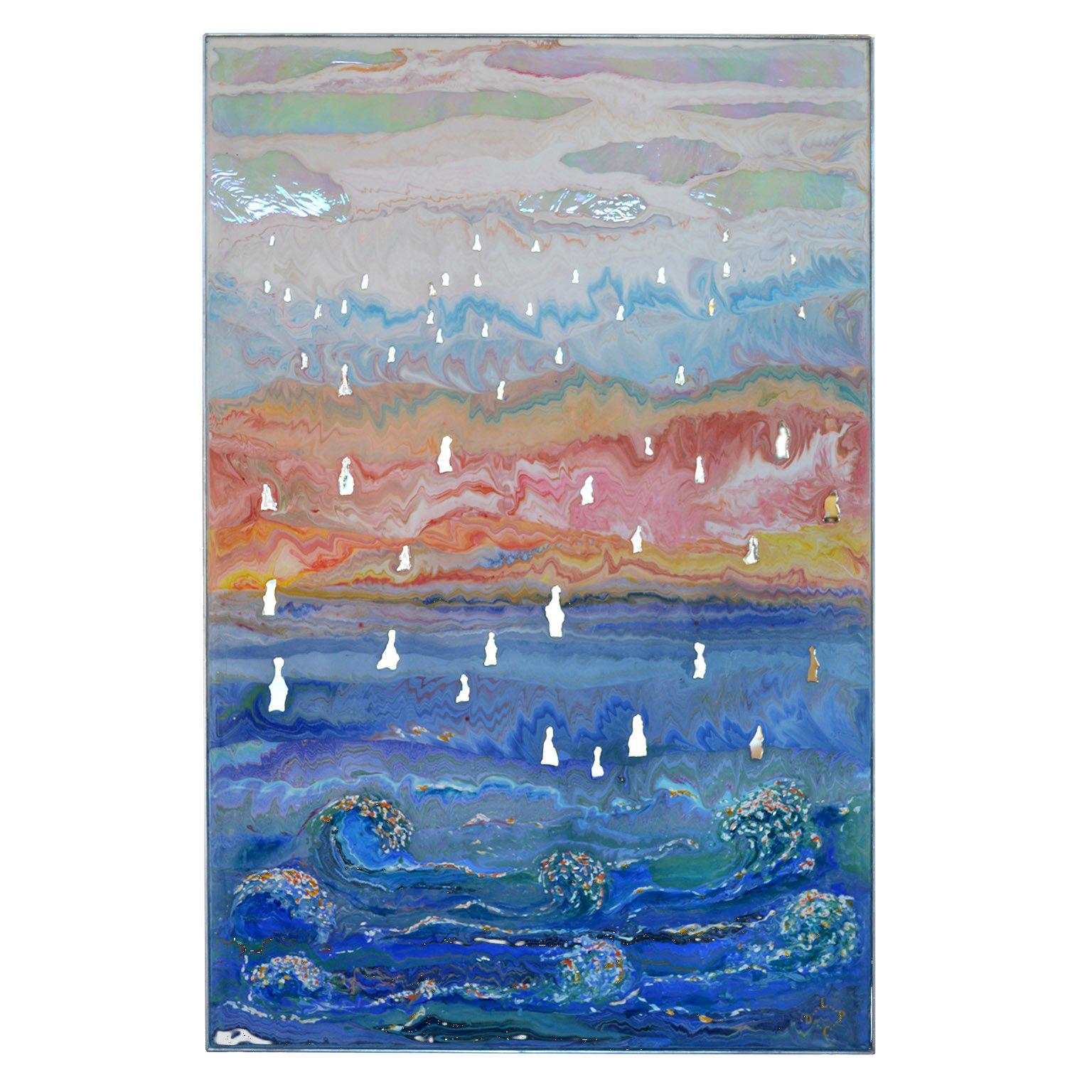 Blue modern Wall Panel Scagliola art decor Mirror Details Blue Waves in Relief