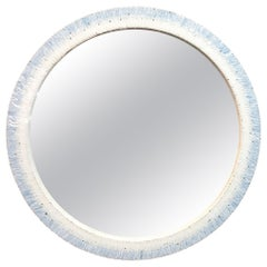 Customizable Breara Glass Mosaic Round Mirror in White and Blue by Ercole Home