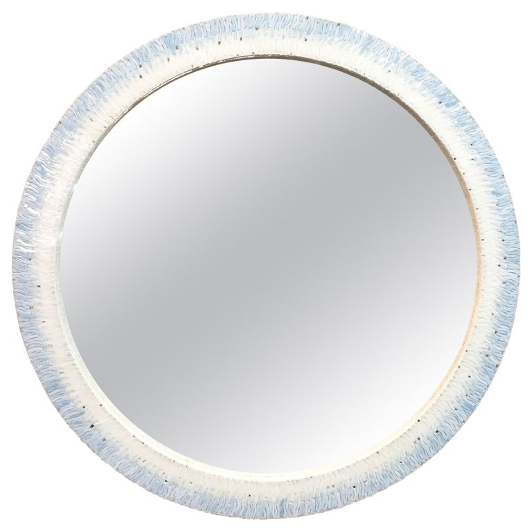 Customizable Breara Glass Mosaic Round Mirror in White and Blue by Ercole Home For Sale