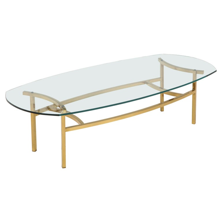 Bertha Schaefer Brass and Glass Cocktail Table for M. Singer and Sons For Sale