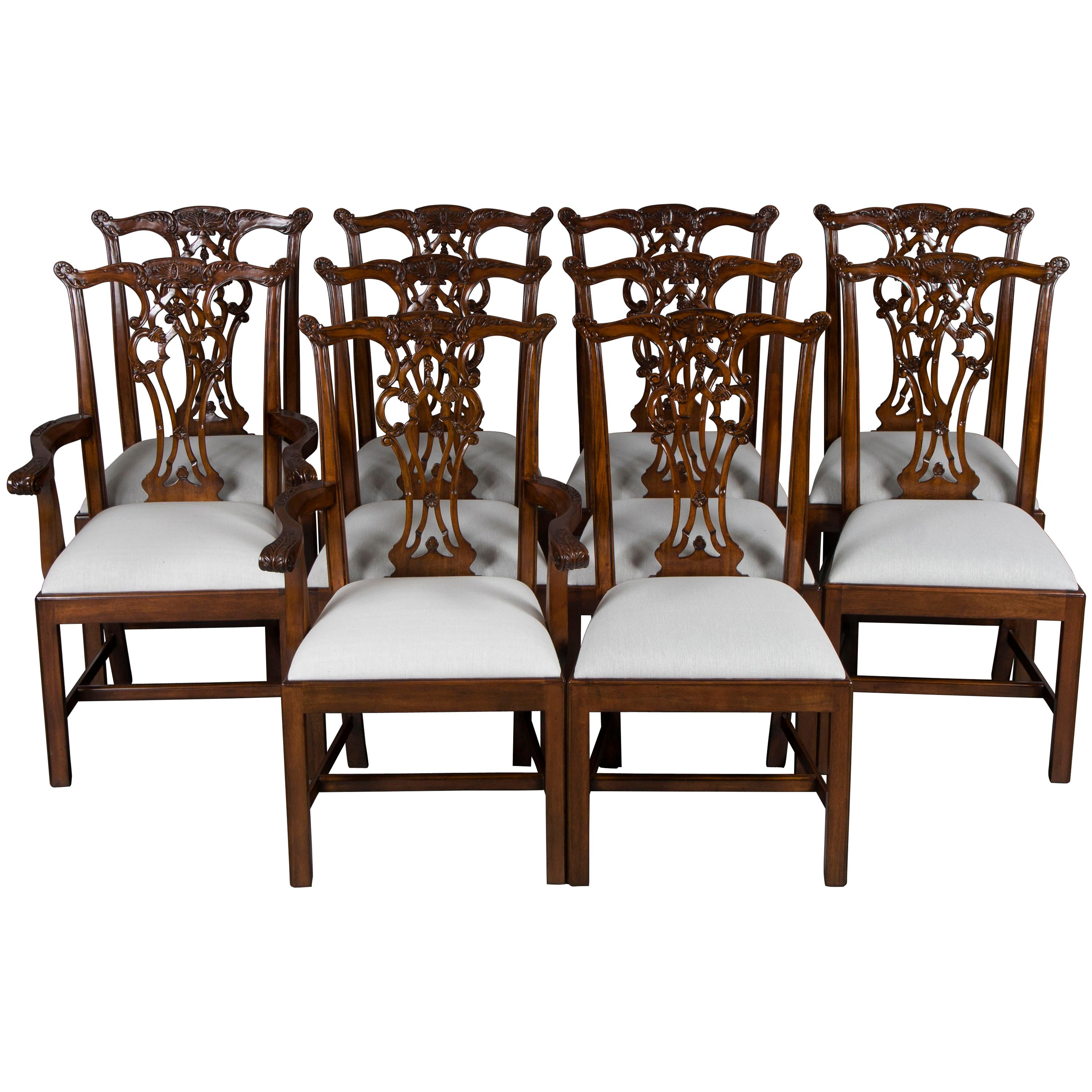 Set Of Ten Carved Mahogany Chippendale Style Mahogany Dining Room Chairs
