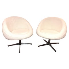 Pair of Midcentury Bouclé Upholstered Swivel Chairs
