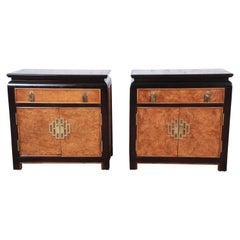 Century Furniture Black Lacquer and Burl Wood Chinoiserie Nightstands, Pair