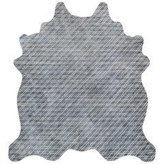 Grey Batik, Framework, Hand Dyed Cowhide Rug by AVO