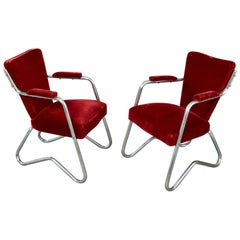 Rare Pair of Tubular Armchairs, Italy, 1950s