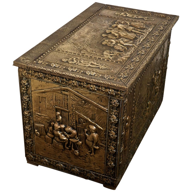 Very Large French Embossed Brass Log Box, with Country Scenes For Sale