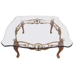 Large Glass and Satin Brass La Barge Coffee Table
