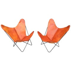 Knoll Hardoy Vintage BFK Butterfly Sling Chairs with New Leather