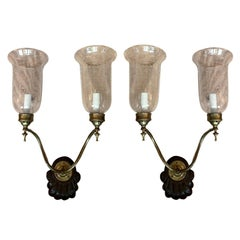 Pair 20th Century Anglo-Indian 2-Arm Shell Back Sconces, Etched Glass Hurricanes