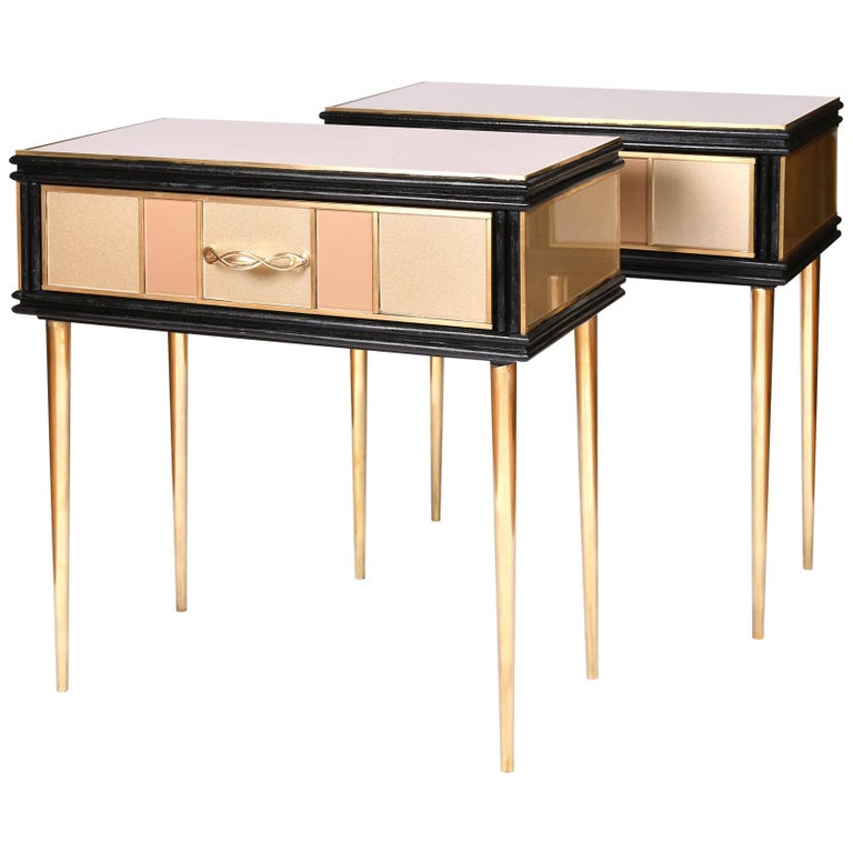 Pair of 1960s Gold and Brass Glass Bedside Tables For Sale