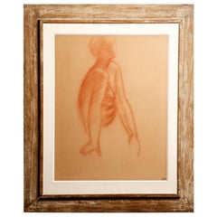 "Andre Derain ""Seated Woman"" French Sanguine Drawing on Paper, Framed"